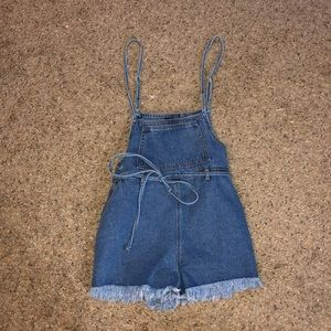 forever21 denim overall shorts